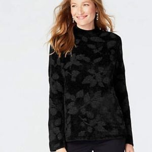 J.Jill Jacquard Leaves Chenille Pullover Sweater